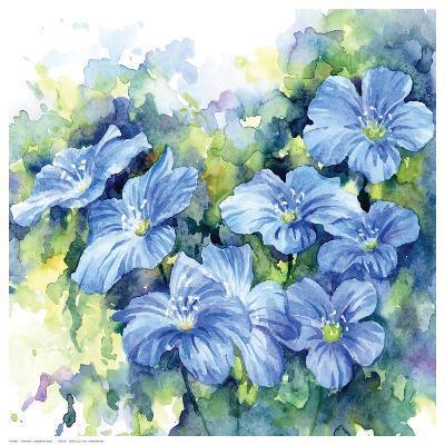 Spring Flowers in Blue--Art Print