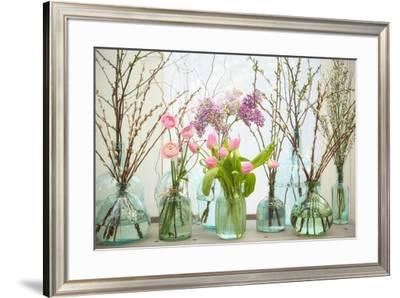 Spring Flowers in Glass Bottles VI-Cora Niele-Framed Giclee Print