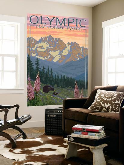 Spring Flowers, Olympic National Park-Lantern Press-Wall Mural