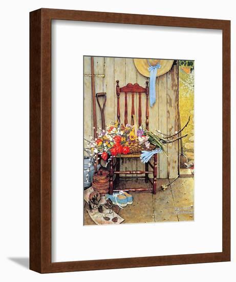 Spring Flowers-Norman Rockwell-Framed Giclee Print