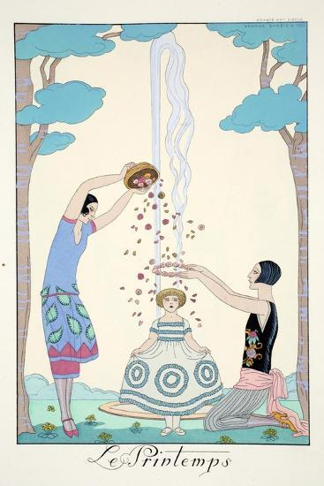 Spring, from 'Falbalas and Fanfreluches, Almanach des Modes Pr?sentes, Pass?es et Futures', 1926-Georges Barbier-Giclee Print