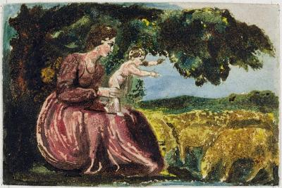 Spring, from 'Songs of Innocence', 1789 (Coloure-Printed Relief Etching with W/C on Paper)-William Blake-Giclee Print