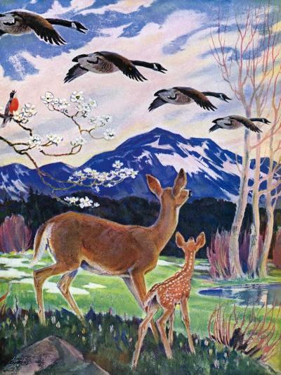"""""""Spring in the Meadow,""""March 1, 1938-Paul Bransom-Giclee Print"""