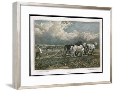 Spring, Ploughing the Field with Three Shire Horses--Framed Giclee Print