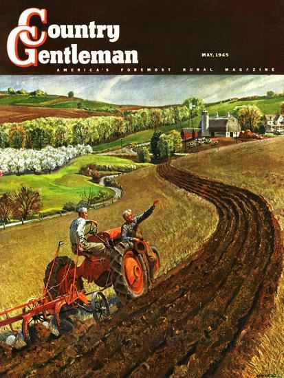 """""""Spring Plowing,"""" Country Gentleman Cover, May 1, 1945-Peter Helck-Giclee Print"""