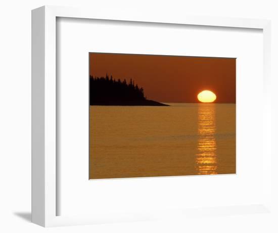Spring Sunrise Silhouettes Edwards Island and Reflects Light on Lake Superior-Mark Carlson-Framed Photographic Print