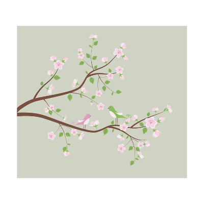 Spring Tree with Birds.-Ladoga-Art Print
