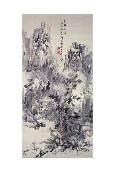 Spring Woods, Passing Rain, 1856 (Hanging Scroll: Ink and Colour on Paper)-Hine Taizan-Giclee Print