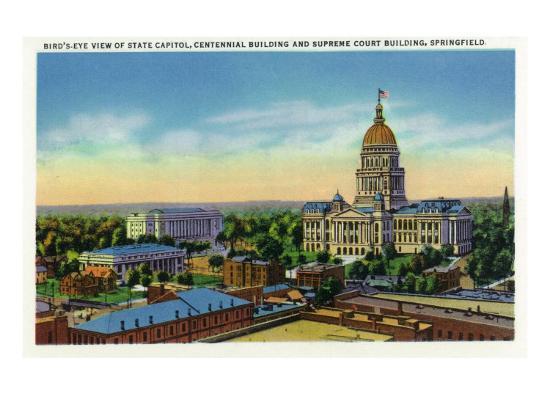 Springfield, Illinois, Aerial View of the State Capitol, Supreme Court Bldg, Centennial Bldg-Lantern Press-Art Print