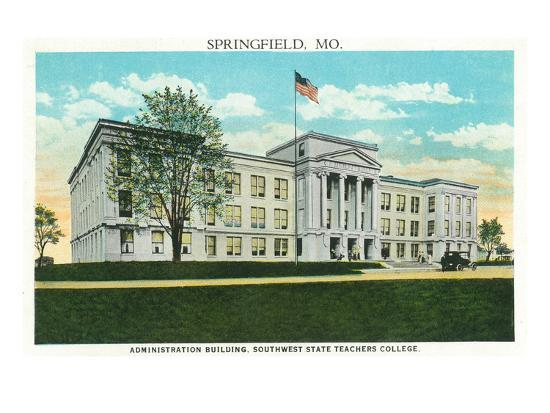 Springfield, Missouri - Southwest State Teacher's College Admin Bldg-Lantern Press-Art Print