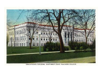 Springfield, Missouri - Southwest State Teacher's College Educational Bldg-Lantern Press-Art Print