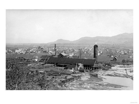 Springfield, OR Town View and Lumber Mills Photograph - Springfield, OR-Lantern Press-Art Print