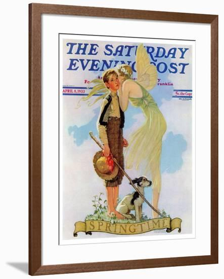 """""""Springtime, 1933"""" Saturday Evening Post Cover, April 8,1933-Norman Rockwell-Framed Giclee Print"""