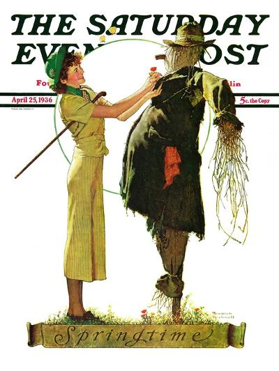 """Springtime, 1936"" Saturday Evening Post Cover, April 25,1936-Norman Rockwell-Giclee Print"