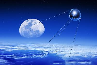Sputnik 1 Satellite, Composite Image-Detlev Van Ravenswaay-Photographic Print