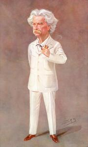 Mark Twain American Writer Born: Samuel Langhorne Clemens Pictured in a White Suit by Spy (Leslie M^ Ward)