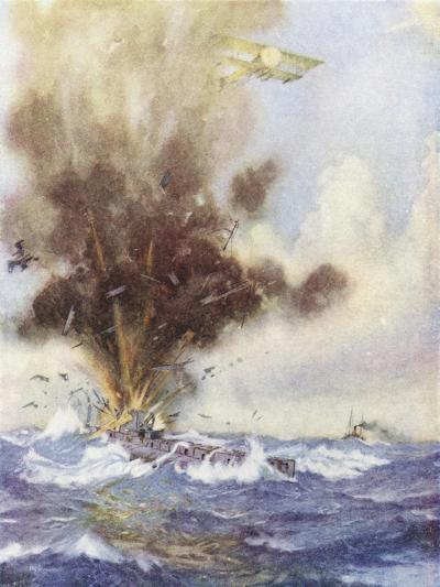 Squadron Leader Arthur Bigsworth Attacks with Bombs a German Submarine-H. G. Swanwick-Giclee Print