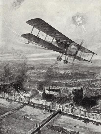 Squadron Leader Spenser Grey Flying over Cologne, 8 October 1914-W. Avis-Giclee Print