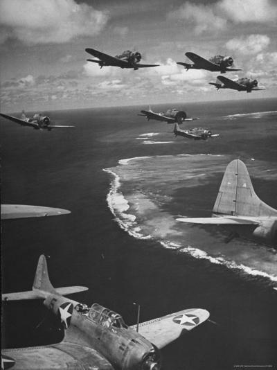 Squadron of US Douglas SBD3 Dive Bombers in Flight, Patrolling Coral Reefs Off Midway Island-Frank Scherschel-Photographic Print