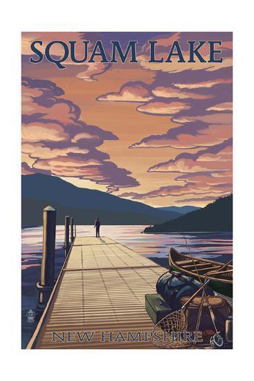 Squam Lake, New Hampshire - Dock and Sunset-Lantern Press-Art Print