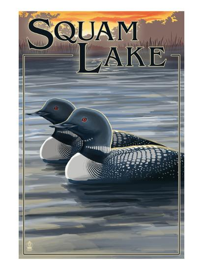 Squam Lake, New Hampshire - Loon Scene-Lantern Press-Art Print