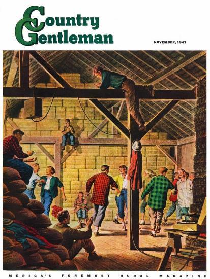 """""""Square Dance in the Barn,"""" Country Gentleman Cover, November 1, 1947-W^W^ Calvert-Giclee Print"""