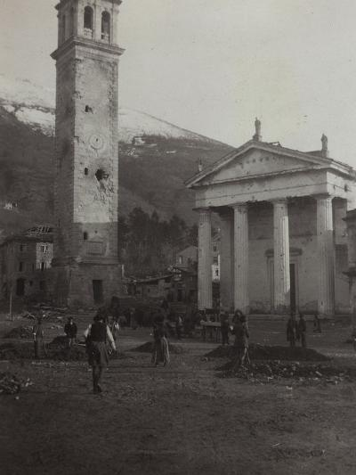 Square in the Old Town of Valdobbiadene with the Bell Tower Damaged by Bombing in World War I--Photographic Print