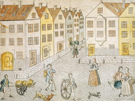 Square of Small Town, Germany 18th Century--Giclee Print
