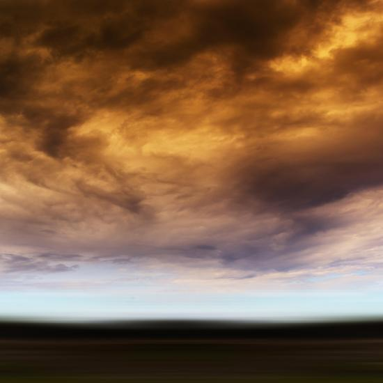 Square Orange Vivid Radiation Cloudscape Storm Motion Abstractio-Nickolay Loginov-Photographic Print