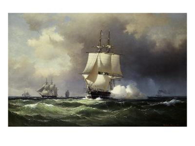 Square Riggers on the Open Sea-Wilhelm Melbye-Giclee Print