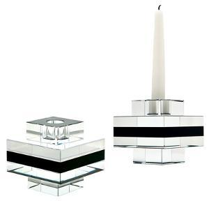 Square Tuxedo Crystal Pedestal Candleholders - Set Of 2