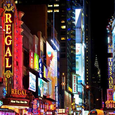 Square View, Urban Scene by Night at Times Square, Buildings by Night, Manhattan, New York, US, USA-Philippe Hugonnard-Photographic Print