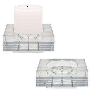 Square Windowpane Crystal Candleholders - Small. Set Of 2