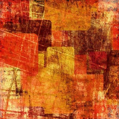 Squares On The Grunge Wall, Abstract Background-molodec-Art Print