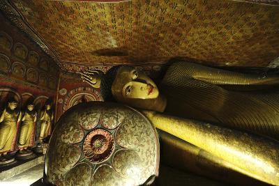 Sri Lanka, Dambulla, Dambulla Cave Temple, Face of Sleeping Buddha-Anthony Asael-Photographic Print