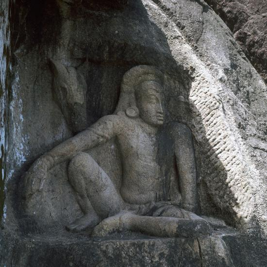 Sri Lankan carving of Anuradhapura Parjanya and his horse Agni, 6th century. Artist: Unknown-Unknown-Giclee Print