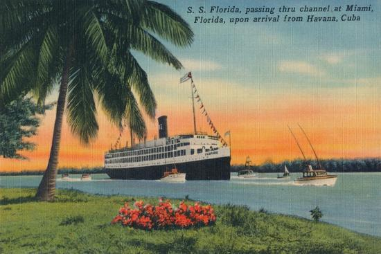 SS Florida, Miami, Florida, upon arrival from Havana, Cuba,  c1931-Unknown-Giclee Print