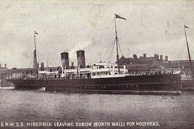 Ss Hibernia Leaving Dublin, North Wall, for Holyhead--Photographic Print