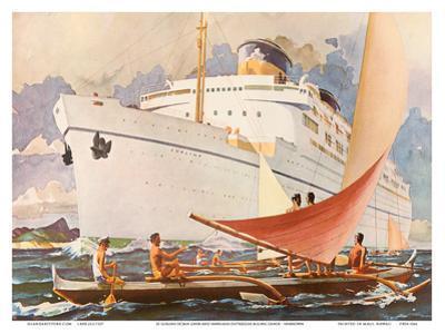 SS Lurline Ocean Liner and Hawaiian Outrigger Sailing Canoe (Wa a) - Matson Lines