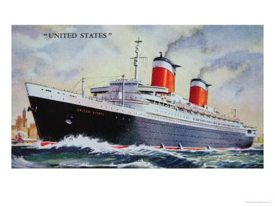 Ss United States Maiden Voyage in 1952-American School-Giclee Print