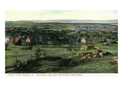 St. Albans, Vermont, View of Town, Lake, and Adirondack Mountains-Lantern Press-Art Print