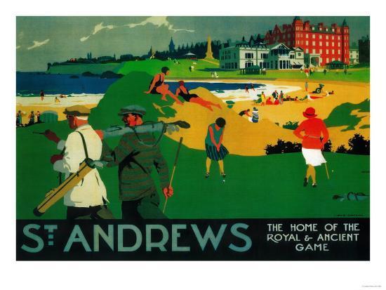 St. Andrews Vintage Poster - Europe-Lantern Press-Premium Giclee Print