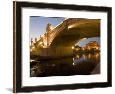 St. Angelo Castle and Vittorio Emanuele Bridge, Rome, Lazio, Italy, Europe-Marco Cristofori-Framed Photographic Print