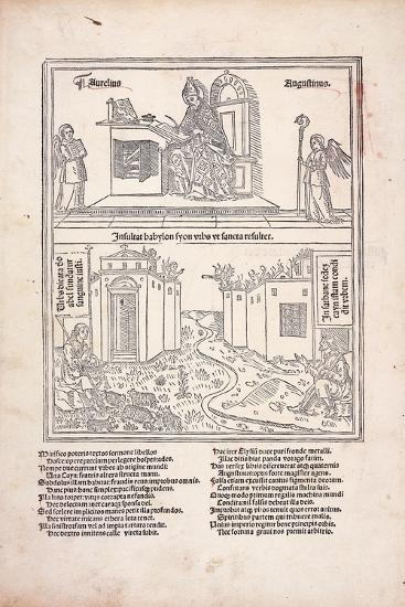 St. Augustine at His Desk and the Cities of Babylon and Zion, 1489--Giclee Print