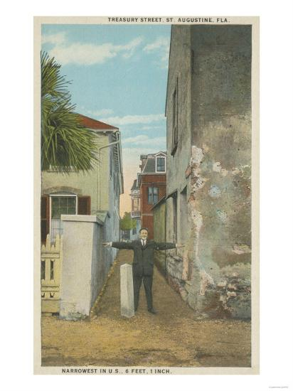 St. Augustine, FL - View of Treasury Street & Man-Lantern Press-Art Print