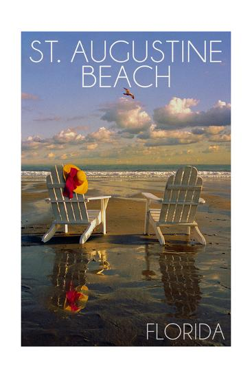 St. Augustine, Florida - Adirondack Chairs on the Beach-Lantern Press-Art Print
