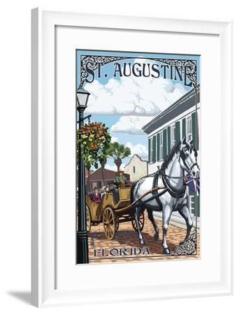 St. Augustine, Florida - Carriage Scene-Lantern Press-Framed Art Print