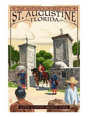 St. Augustine, Florida - City Gates-Lantern Press-Art Print