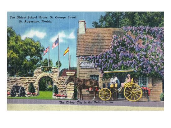 St. Augustine, Florida, Exterior View of the Oldest Schoolhouse, St. George Street-Lantern Press-Art Print