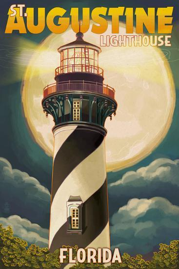 St. Augustine, Florida - Lighthouse and Moon-Lantern Press-Art Print